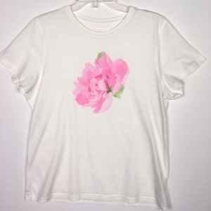 Liz Claibourne Basic Pink/White Floral Tee Large